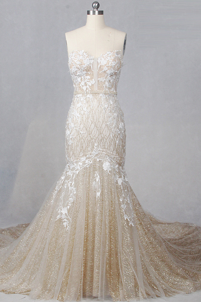 BMbridal Glamorous Straplees Sweetheart Mermaid Wedding Dress Pink Sequined Appliques Sleeveless Bridal Gowns On Sale