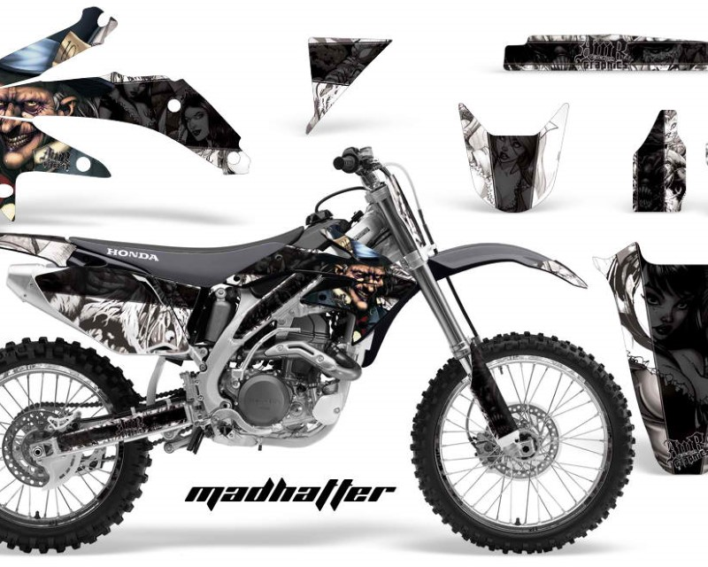 AMR Racing Graphics MX-NP-HON-CRF450R-05-08-HAT K W Kit Decal Sticker Wrap + # Plates For Honda CRF450R 2005-2008áHATTER BLACK WHITE