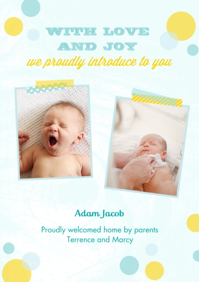 Newborn 5x7 Cards, Standard Cardstock 85lb, Card & Stationery -Bright Bubbles - Boy