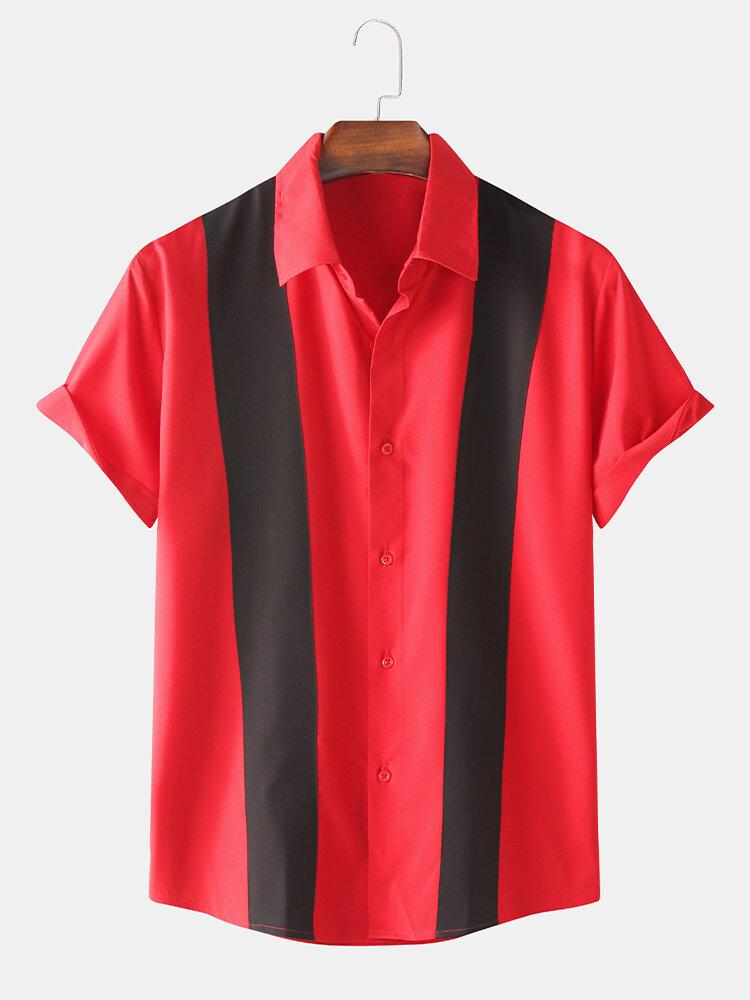 Mens Designer Color Blocking Printed Loose Short Sleeve Shirts