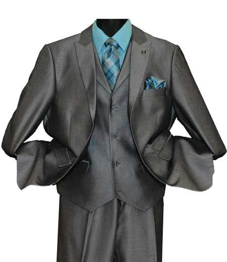 Grey Men's Single Breasted 2 Button Striped Peak Lapel Vested Suit