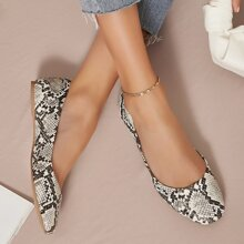 Square Toe Snakeskin Slip On Ballet Flats