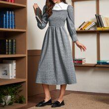 Kleid mit Puffaermeln, Kontrast und Plaid Muster