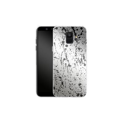 Samsung Galaxy A6 Silikon Handyhuelle - Splatter Black von Amy Sia