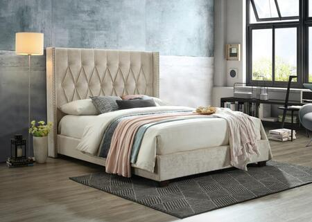 Kyrie Collection KY8008-K-BG King Size Platform Bed with Nail Head Trim  Button Tufted Wingback Headboard  Wood Frame Construction and Polyester