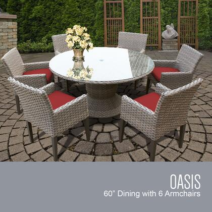 OASIS-60-KIT-6DCC-TERRACOTTA Oasis 60 Inch Outdoor Patio Dining Table with 6 Chairs w/ Arms with 2 Covers: Grey and