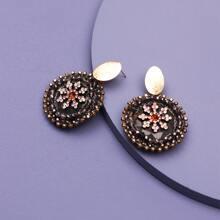 Rhinestone Round Drop Earrings