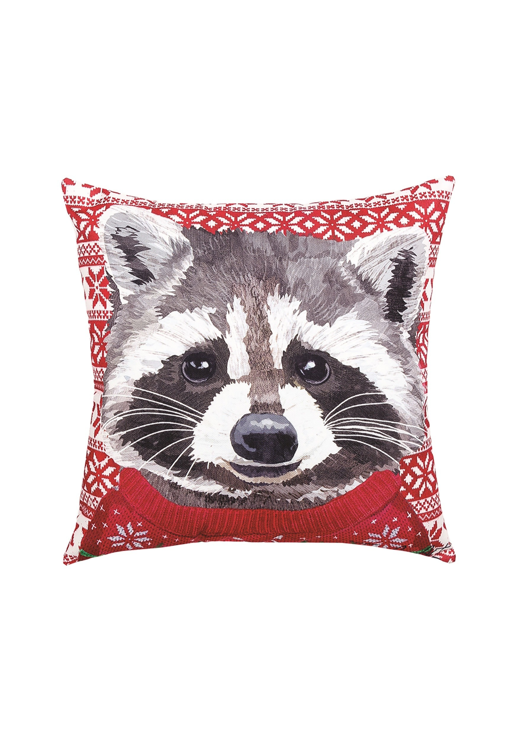 Raccoon Christmas Sweater Holiday Pillow