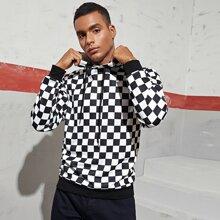 Men Checkered Drawstring Hoodie