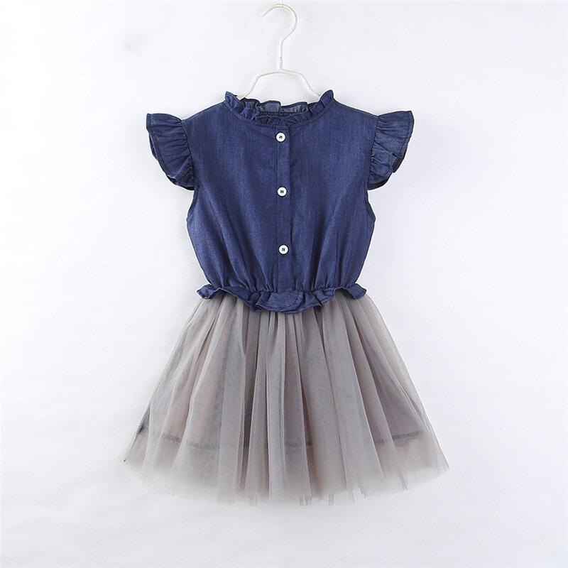 Denim Mesh Toddlers Girls Kids Sleeveless Patchwork Princess Dresses