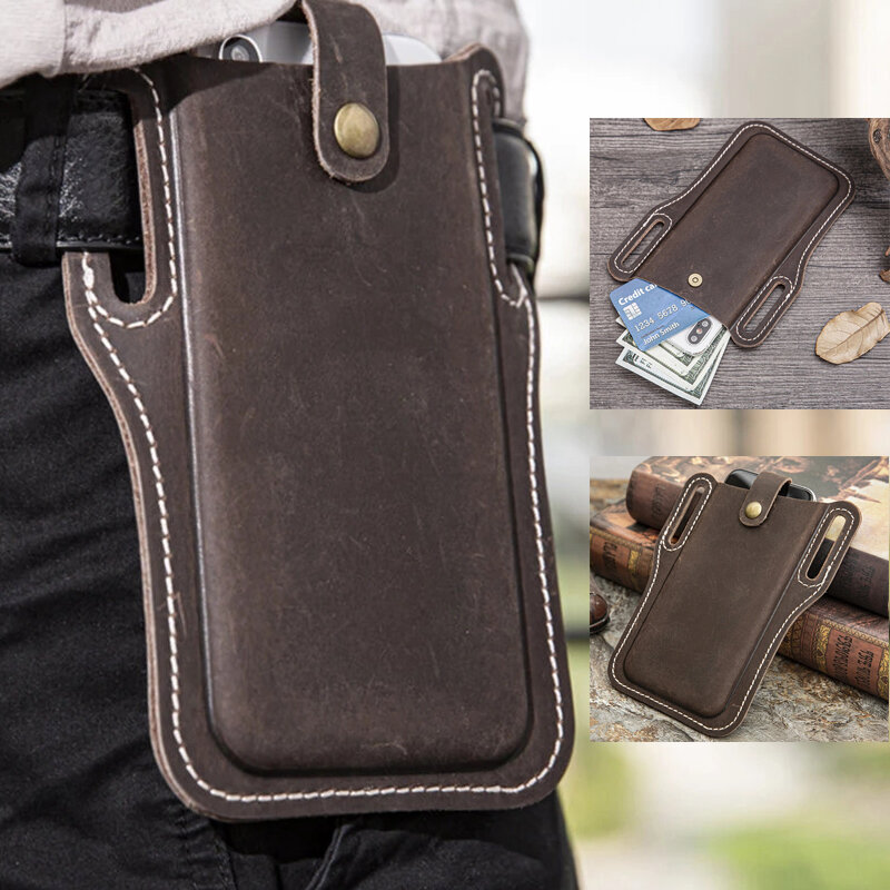 Men EDC Genuine Leather 6.3 Inch Retro Short Cell Phone Case Belt Bag