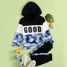 Toddler Boys Tie Dye And Letter Graphic Hoodie With Sweatpants