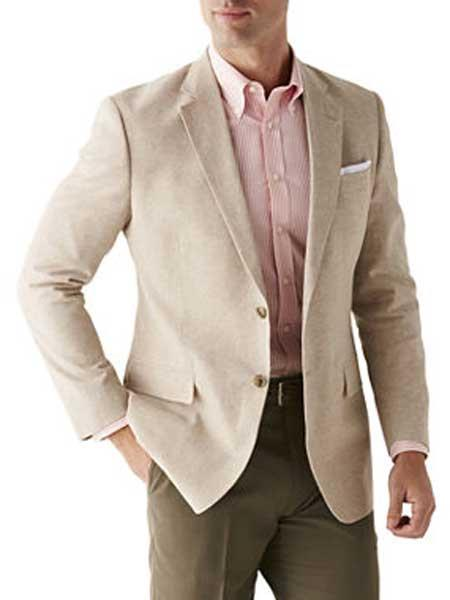 Mens Sand Linen Cotton 2 Button Sport Coat Long Sleeves Blazer
