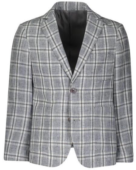 Boys 2 Button Single Breasted Windowpane Light Gray Linen Blazer