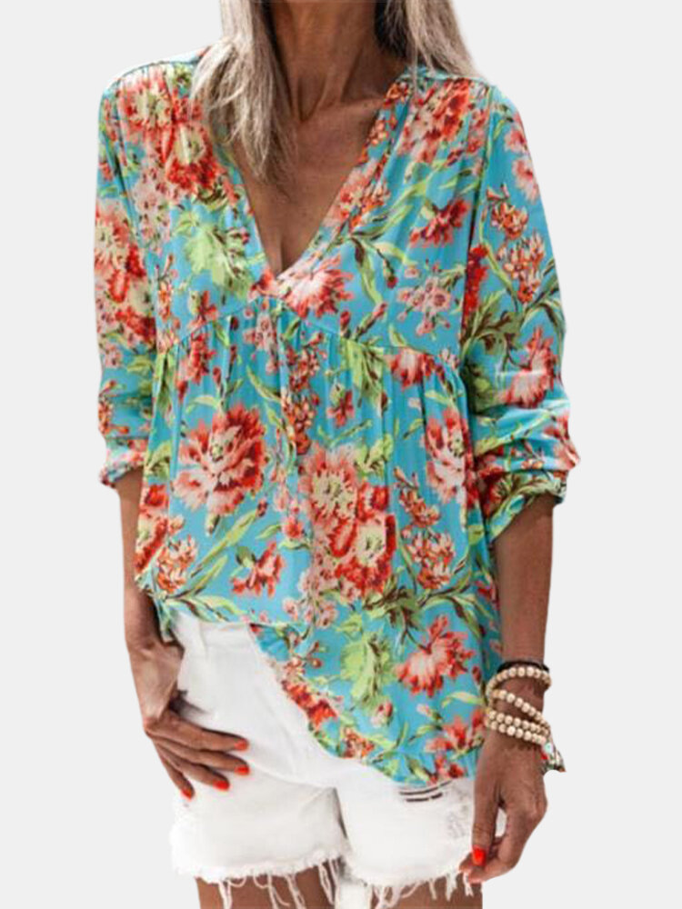 Floral Print V-neck Long Sleeve Casual Blouse For Women