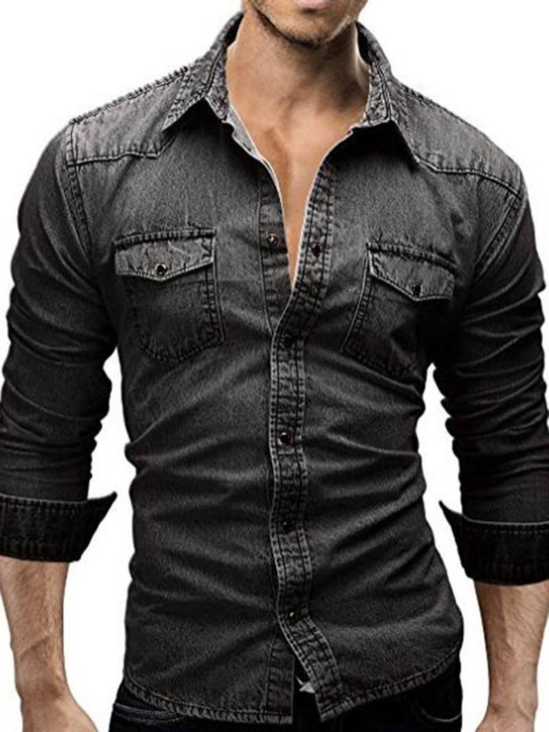 Ericdress Long Sleeve Pocket Denim Slim Mens Shirt