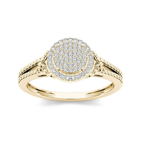 1/6 CT. T.W. Diamond 10K Yellow Gold Engagement Ring, 7 , No Color Family
