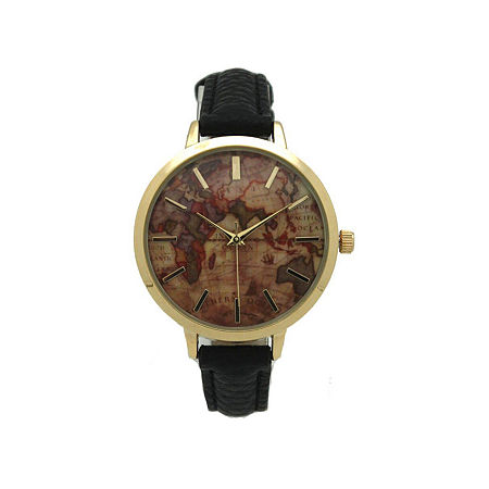 Olivia Pratt Southern Hemisphere Map Womens Black Leather Strap Watch-A917470black, One Size , No Color Family