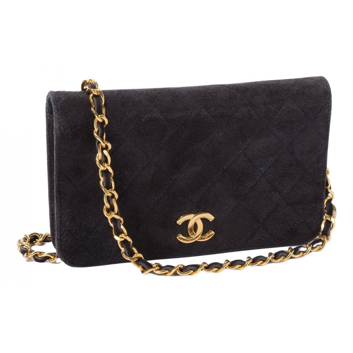 Chanel \N Clutch in  Marine Veloursleder