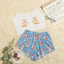 Cami Pajama Set mit Karikatur und Punkten Muster
