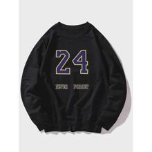 Men Number & Slogan Graphic Sweatshirt