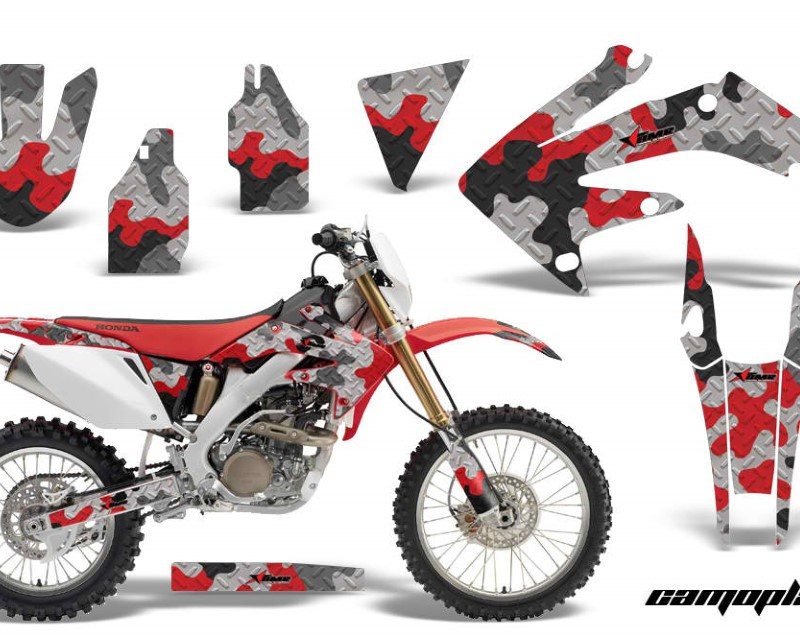 AMR Racing Dirt Bike Decal Graphics Kit MX Sticker Wrap For Honda CRF250X 2004-2017áCAMOPLATE RED