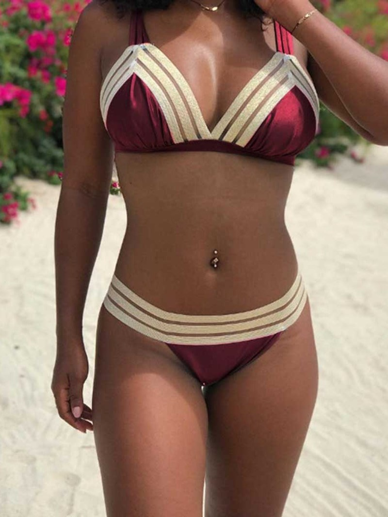 Ericdress Sexy Bikini Set Patchwork Swimwear