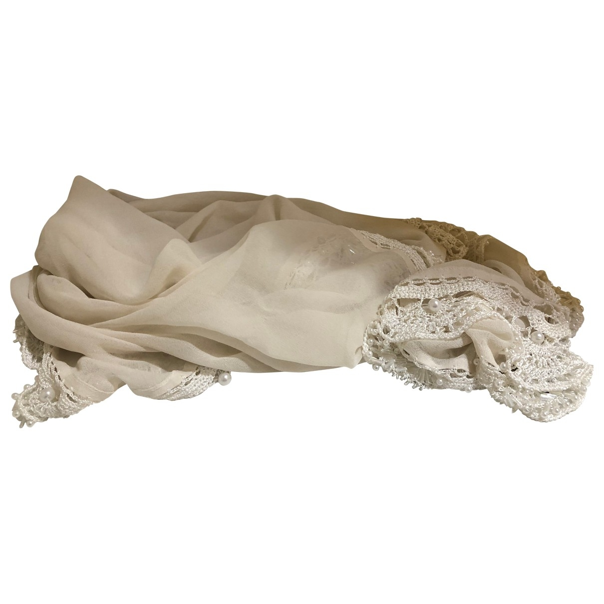 Emporio Armani - Foulard   pour femme en soie - ecru