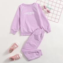 Toddler Girls Unicorn & Slogan Graphic Sweatshirt & Sweatpants