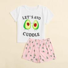 Girls Slogan And Cartoon Fruit Print PJ Set