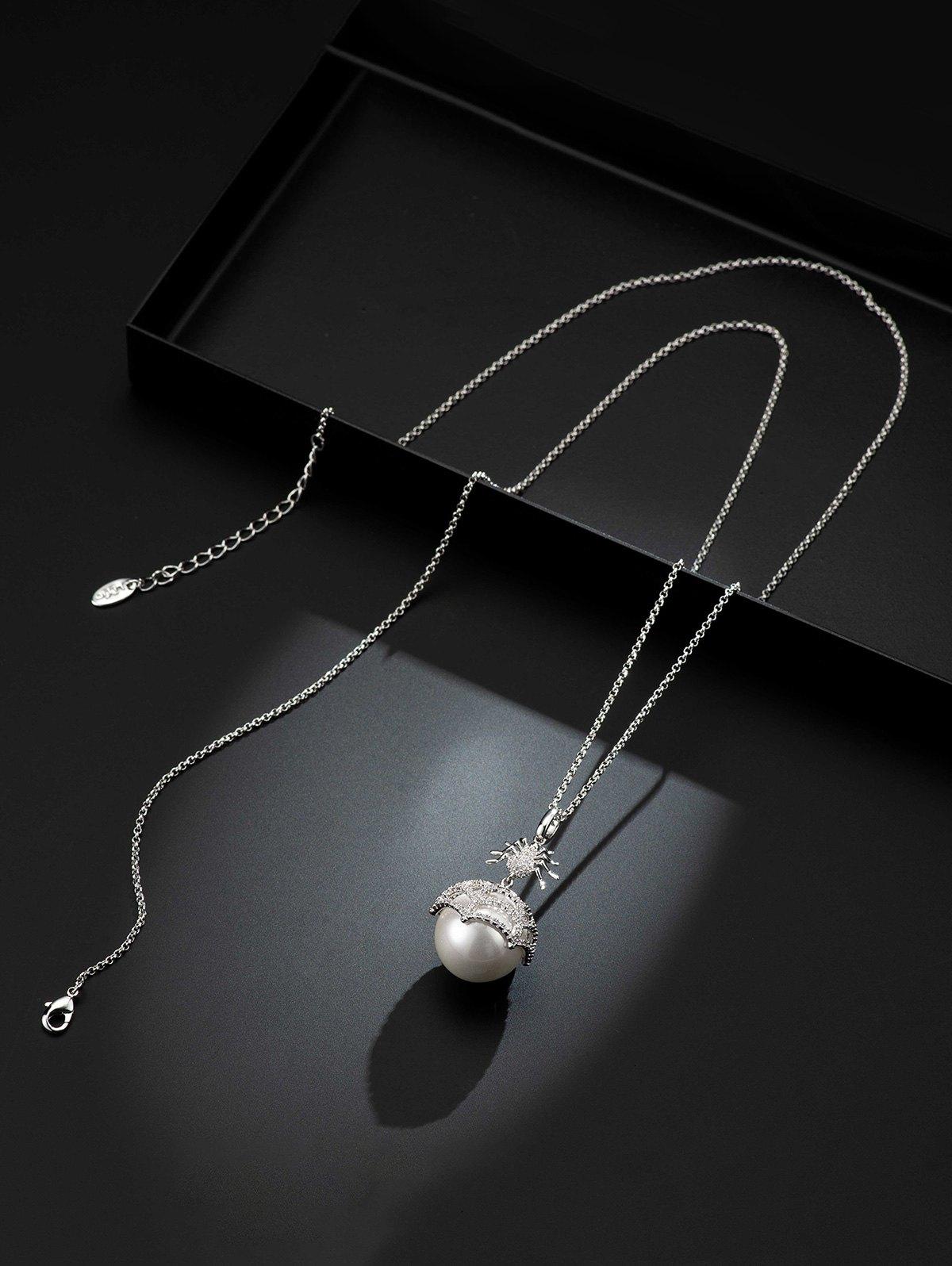 Spider Web Faux Pearl Zircon Copper Necklace