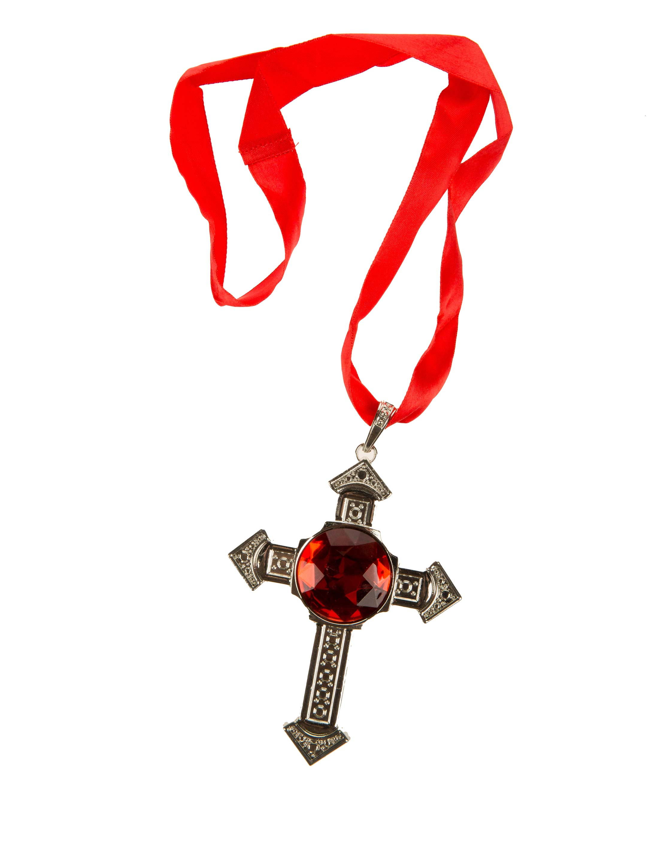 Kostuemzubehor Halskette Kreuz mit rotem Stein