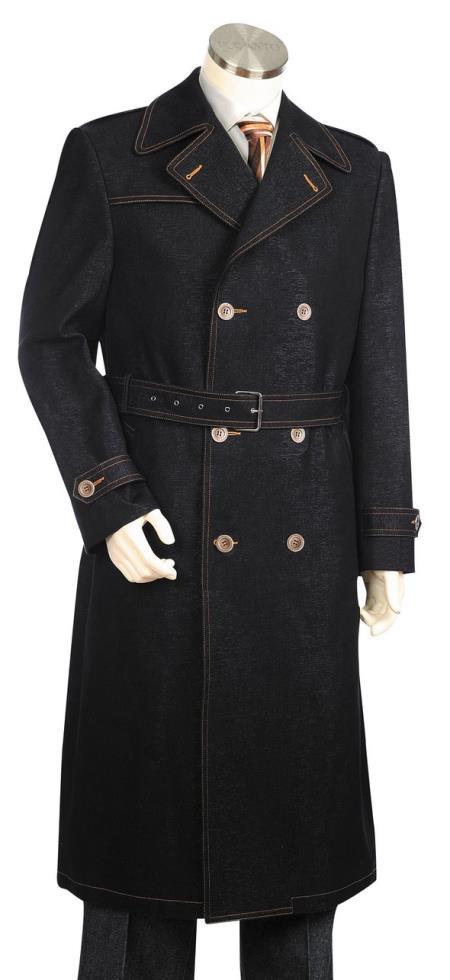 Mens 1pc Suit Double Breasted Black Zoot Suit