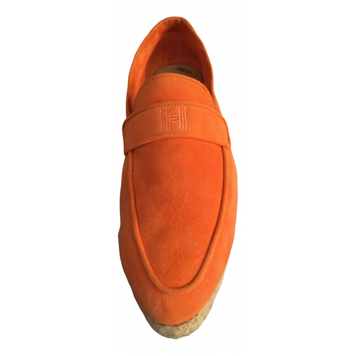 Hermes \N Espadrilles in  Orange Veloursleder