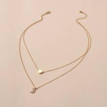 Mehrschichtige Halskette mit Herzen & Mond Dekor