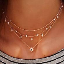 Rhinestone Decor Star Layered Necklace