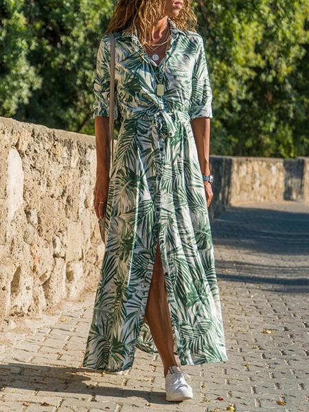 Milanoo Vestidos largos Mangas largas Botones de cuello descubiertos con estampado floral naranja Vestido largo de poliester dividido