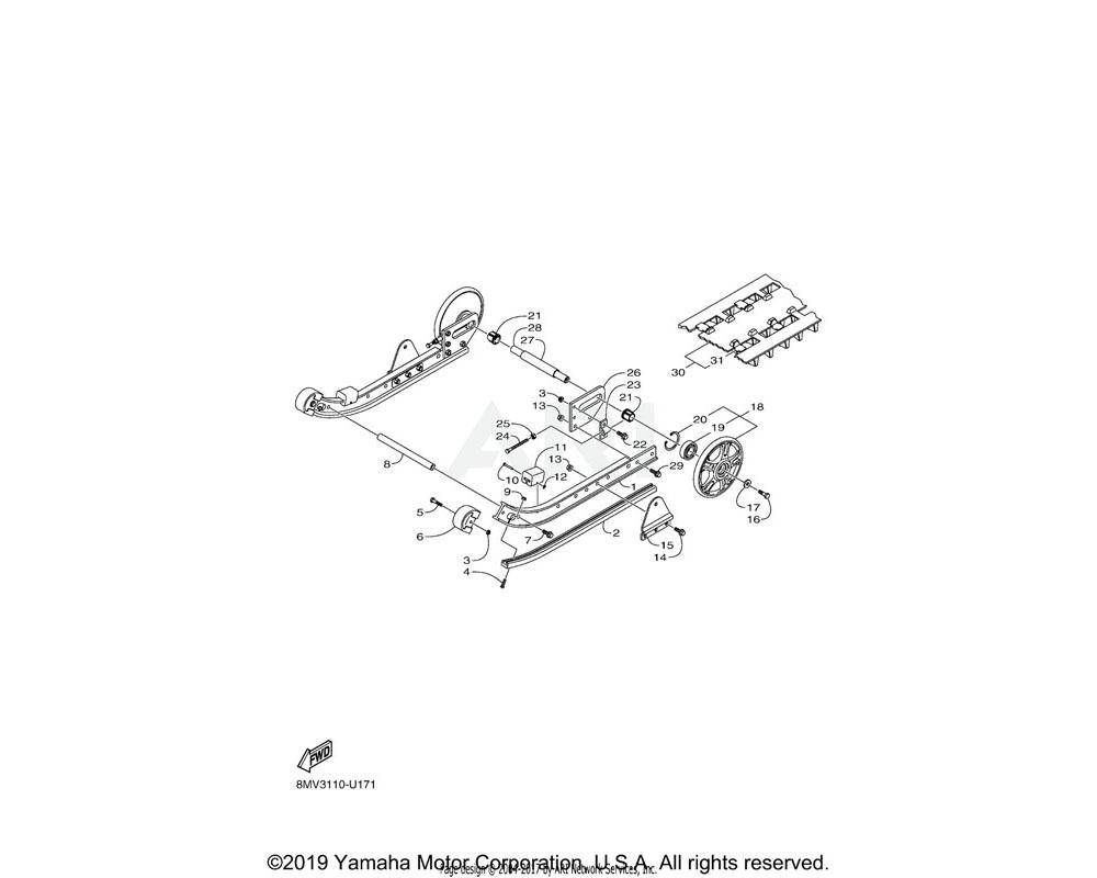 Yamaha OEM 8JM-G741A-00-00 FRAME, SLIDING