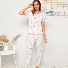 Conjunto de pijama con estampado de flamenco con mascara de ojo