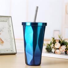 Gradient Color Diamond Straw Cup