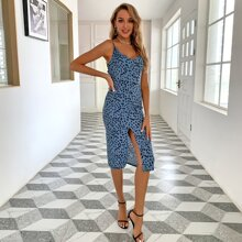 Covered Button Slit Hem Tied Backless Dalmatian Dress