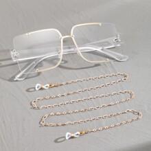 Men Oversized Lens Glasses With Glasses Chain