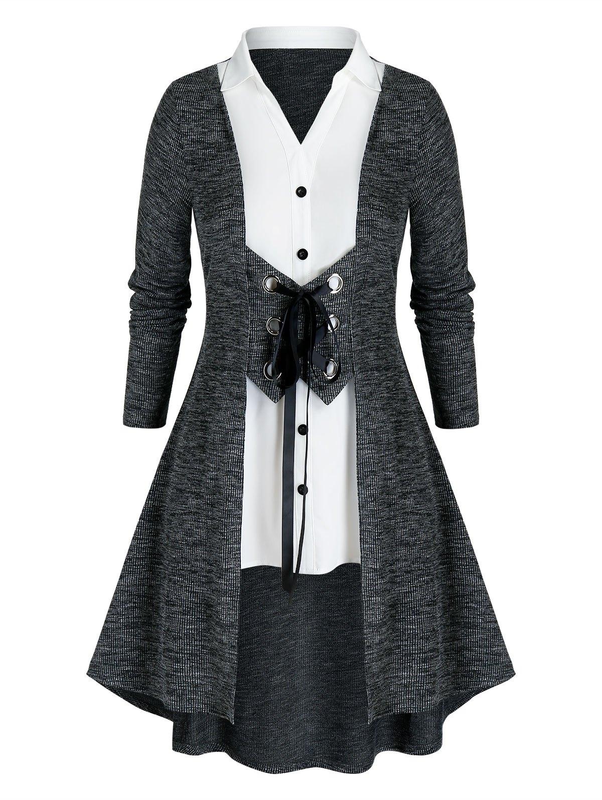 Plus Size Grommet Lace-up 2 In 1 Long Knit Cardigan