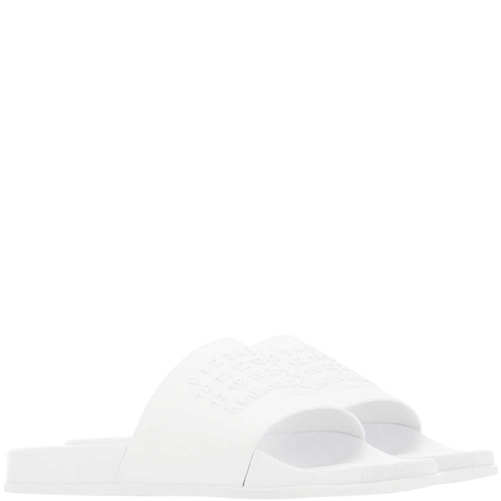 Maison Margiela Number Logo Shower Sliders Colour: WHITE, Size: 9