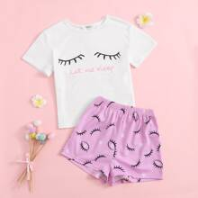 Girls Let Me Sleep Graphic Tee & Shorts PJ Set