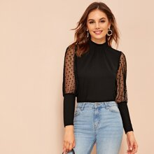 Dobby Mesh Leg-of-mutton Sleeve Top