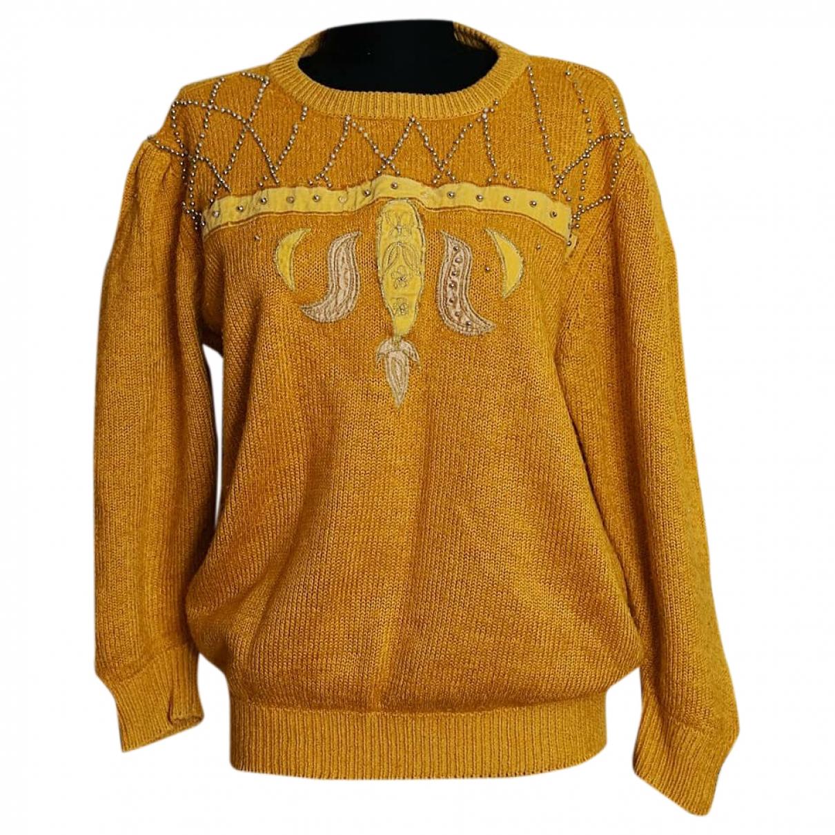 Non Signé / Unsigned Manche ballon Camel Cotton Knitwear for Women S International