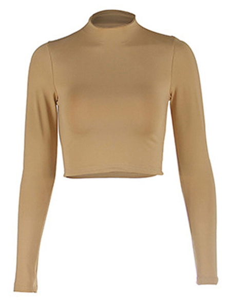 Milanoo Women Crop Top High Collar Long Sleeves Casual Tops