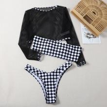 3pack Checkered Bandeau Bikini Swimsuit & Fishnet Top