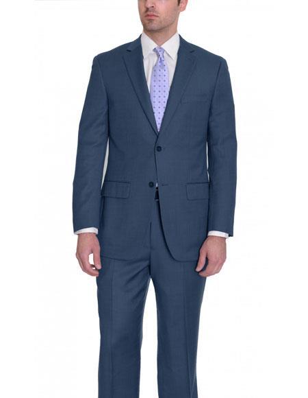Mens Navy Blue Birdseye 2 Button Single Breasted Wool Suit